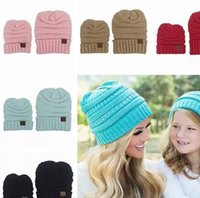 Wholesale Matching Hats - 2017 baby beanie hats winter hats for women kids crochet hats wholesale children knit hat family matching set mom and daughter dad wool cap