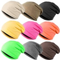 Wholesale Turban Men - wholesale New Fashion Winter Unisex Solid Color Elastic Hip hop Cap Beanie Hat Slouch 9 Colors One Size knitted hat turban 18280