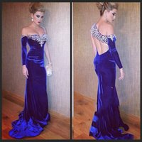 Wholesale One Shoulder Gold Rhinestone - 2015 New Fashion Mermaid One Shoulder Royal Blue Prom Dresses Velvet Beaded Luxury Crystal Dress Long Rhinestone Evening Gown