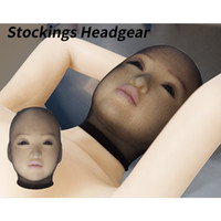 Wholesale Male Sex Toys Masks - 5pcs Per Lot Stockings Headgear Fetish Sex Toy Pantyhose Mask Sheer Hood Sexual Role Play Costume for Male Female B0316025