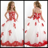 Wholesale Girls Size 13 Dress - 2015 Pretty Red Lace Appliqued White Tulle Ball Gown Pageant Dresses for Little Girls Cheap Flower Girl Dress Girls Pageant Dresses Size 12