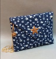 Wholesale Key Chains Stars - Woman blue Jeans Shoulderbag Lady Evening Bag with Stars