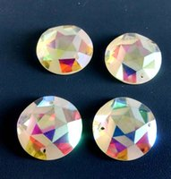 Wholesale Shiny Flat Stones - Wholesale-Free shipping(54pcs lot)18mm crystal AB round frosted matte sew on stone crystal shiny Flat Back rhinestone star rhinestone