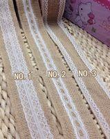 Wholesale Cake Paper Lace - 5 meter  lot 5M Natural Jute Burlap Hessian Ribbon with Lace Trims Tape Rustic Wedding Decor wedding cake topper