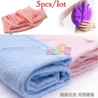 Wholesale Magic Hair Dry Drying Towel - Microfiber Magic Hair Dry Drying Turban Wrap Towel Hat Cap Quick Dry Dryer Bath 5pcs lot Free Shipping