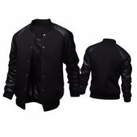 Wholesale Varsity Jacket Designs - Cool College Baseball Jacket Men 2017 Fashion Design Pu Leather Sleeve Mens Overcoat Slim Fit Varsity Jacket Autumn Veste Homme