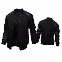 ingrosso cappotto sottile maschile-Cool College Baseball Jacket Uomo Fashion Design Pu Leather Sleeve Uomo Cappotto Slim Fit Giacca Varsity Autunno Veste Homme