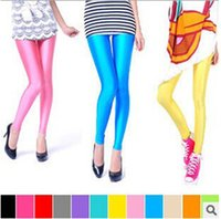 Wholesale Colored Leggings For Women - 2014 NEW Korean version of the fall and winter nine points leggings, fluorescent candy colored stretch pants for women