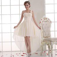 Wholesale High Low One Shoulder Dresses - Chiffon High low One Shoulder Bridesmaid Dresses Lace Up 2017 Party Dress Short Front Long Back