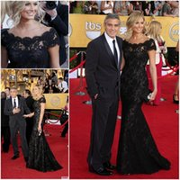 Wholesale Stacy Keibler Dress - 2016 New Arrival Sexy Stacy Keibler Scoop Black lace Mermaid Evening Dresses 2015 Floor-Length Red Carpet Celebrity Dresses QA158