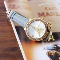 Wholesale Eiffel Watch Diamond - 2015 Luxury Diamond Eiffel Tower Pendant Leather Wristwatches Fashion new Eiffel Tower women PU leather dress watch
