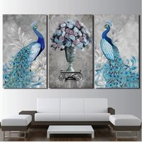 Modern Canvas HD Prints Imagens Wall Art 3 Pieces Peacock Couple Painting Art Decorative wall pictures