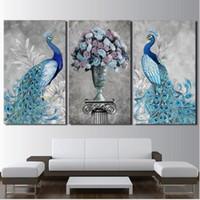 ingrosso pavone di pittura di tela di arte della parete-Modern Canvas HD Prints Pictures Wall Art 3 Pezzi Coppia pavone Pittura Arte Decorativa immagini a parete