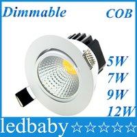7w llevó la cáscara blanca al por mayor-El más nuevo 5W 7W 9W 12W COB Led Downlight regulable empotrado Led luz de techo blanco Shell alto Lumen para el hogar luz AC 110-240V