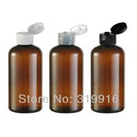 Wholesale Empty Plastic Bottles For Shampoo - 220ml amber ( brown ) round empty plastic bottle flip top caps, refillable PET bottles for shampoo ,shower gel ,conditioner