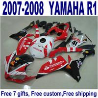 yamaha r1 motorrad großhandel-NEUE Verkleidungen für YAMAHA YZF R1 2007 2008 rote schwarze Santander Motorradverkleidungssätze YZF-R1 07 08 ER1 + 7 Geschenke