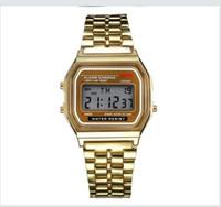 Wholesale Vintage Battery Light - CAS02 Fashion Retro Vintage Gold Watches Men Electronic Digital Watch LED Light Dress Wristwatch relogio masculino FYMHM IOAC