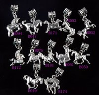 Wholesale Assorted Loose Beads - Assorted Horses Alloy Big Hole Dangle 120pcs lot 12Styles Antique Silver Beads Loose Bead Fit Charm Bracelet