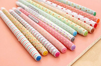 Wholesale Wholesale Fountain Pen Ink - 12 pcs lot DIY NEW Kawaii Cartoon Colorful Gel Pen Cute Beautiful Dot Pens Fountain Pen Nib Korean Stationery Free shipping