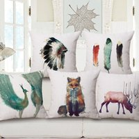 Wholesale White Peacock Feathers Wedding - 20 styles Color Feather Custom Cushion Cover Chief Peacock Pillow Case Fox Watercolor Pillow Cover 45X45cm Wedding Decoration Home Pillows