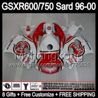 Wholesale 98 Gsxr Fairings - 8Gift Fairing For SUZUKI GSXR600 GSXR750 SRAD 96-00 GSXR 600 750 MY3 GSX R600 R750 96 97 98 99 00 Lucky Strike 1996 1997 1998 1999 2000 Body
