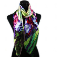 Wholesale 1pcs Green Pink Women s Fashion Satin Peony Oil Painting Long Wrap Scarves Shawl Beach Silk Scarf X50cm