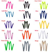Wholesale Clip Children Pants Suspenders - Kids Suspender Children Clip-on Adjustable Elastic Pants Y-back Suspender Braces Belt children Black 26 Colors Choose gift Free Shipping