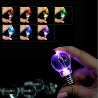 Wholesale Flashing Keyrings - 1PC 7 Different Color LED Flash Lights Mini Bulb Torch Key Chain Keyring Outdoor Free Ship