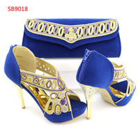 Wholesale Yellow Shoes Matching Bag - 2018 New Arrival Black Red Blue Design Italian Shoes With Matching Bags Set Nice Quality African Shoes And Bag Sets With Rhinestones