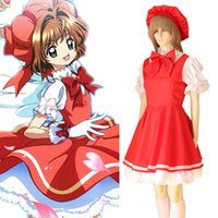 Wholesale japanese women costumes - Cardcaptor Sakura Kinomoto Sakura Cosplay Costume Magical Girl Bow Lolita Party Dress With Hat Japanese Maid Dresses