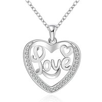 sparkly heart necklace - Elegant Silver Jewelry Sparkly Zircon Necklace Love Inlay Heart Necklace