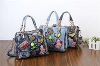 Wholesale Uk Brand Handbag - 2015 Famous Brand Women Blue Denim Designer Handbag High Quality UK Shoulder Jeans Bags Women Messenger Tote Bag Bolsas W184