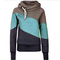 Wholesale Thick Pink Hoodie - 2016 Spring pullover hoodies sweatshirts for women new clothes Korean hit color stitching Slim thin plus thick velvet hoodie sherpa
