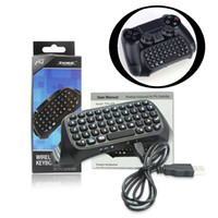 Wholesale Bluetooth Keyboard Gamepad - Mini Bluetooth Wireless Bluetooth Chatpad Keyboard for Sony Playstation 4 PS4 Controller Gamepad Joystick Message Micro USB Cable Retail 010