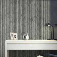 Wholesale Grey Vinyl - Dark grey brown realistic effect natural vinyl tree woods jungle forest embossed texturded 10M wallpaper roll decor art
