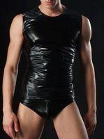 Wholesale Tight Sex Dress - Sexy Gays Men Costume Fetish Bondage Black Latex Faux leather Body Harness Tanks Pants Set Adult Sex Dress Club Party Dresses Tights