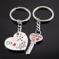 Wholesale Lock Key Couples Jewelry - Smile I Love You Heart Key Lock Keychain Key Ring Holds Couple Women Men Fashion Jewelry gift Drop Shipping