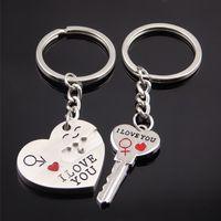 ingrosso la chiave di blocco squilla gli anelli-Sorriso Ti amo cuore Key Lock Keychain portachiavi tiene coppia donna uomo moda gioielli regalo trasporto di goccia