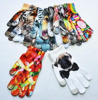 Wholesale Wholesale Fashion Fruit Cake - Women Men Warm 3D Print Knitted Touch Gloves Soft Cat dog fruit cake 3D printing gloves Touch Screen Glove KKA3382