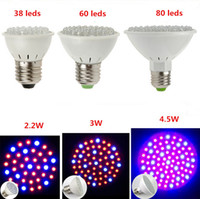 Wholesale Aquarium Led Lighting 3w - E27 38leds 60leds 80leds 3W Hydroponic Plant Grow Lights 4.5W LED Light Bulb 110V-220V RED and BLUE Garden Greenhouse Aquarium Light