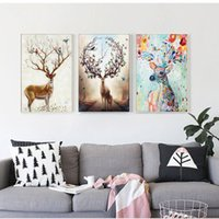 Wholesale Natural Wall Paint - Nordic Elk Decorative Painting Living Room Home Wall Hanging Modern Mnimalist Hanging Paintings Natural Pine Inner Frame Canvas Wall Art