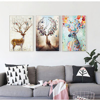 Nordic Elk Decorative Painting Sala de estar Inicio Colgante de pared Moderno Mnimalist Colgando Pinturas Natural Pine Inner Frame Canvas Wall Art
