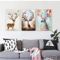 ingrosso dipinti alce-Nordic Elk Pittura Decorativa Soggiorno Parete della casa Hanging Modern Mnimalist Hanging Paintings Pino interno Cornice interna Wall Art Canvas