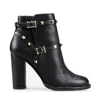 Wholesale metal toe boots - Women Ankle Boots High Heel Thick Boots Metal Buckle Rivets Women's Shoes