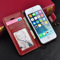 Wholesale Iphone Card Holder Flip Case - For iPhone 7 7plus 6 Vintage Retro Flip Stand Wallet Leather Case With Photoframe Holder Cover For iphone 6 6S plus 4 5 SE