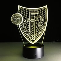 Wholesale Table Bedside Lamp Nightlight - Wholesale- Novelty 3D FB Illusion LED Acrylic Wooden Base Desk Table Lamp RGB Nightlight USB Remote Control Bedside Lampda