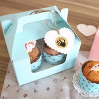 ingrosso torte di tazza blu-Wholesale- 10 pezzi Blue / Pink 4 cup Muffin Cake con scatola per cupcake con movimento centrale