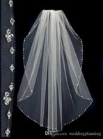 Wholesale Lace Beaded Champagne Veil - 2016 Beaded Short Wedding Veils With The Beaded Pinterest Popular White Cheap Veils Bridal One Layer Wedding Lace Veil