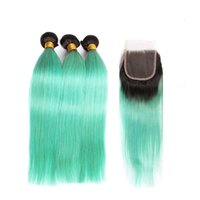 Wholesale two tone malaysian human hair resale online - Straight Green Human Hair Bundles With Lace Closure Malaysian Virgin Hair Two Tone Black To Green Ombre Green Lace Closure With Bundles