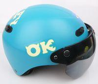 "Wholesale Kk Moto - Wholesale-KK#32 Taiwan ""EVO"" Motorcycle Half Face Snow Racing Casco Moto Matt Blue Big Monster On Campus Helmet & UV"
